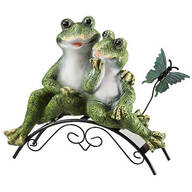 Resin Frog Couple on Bench