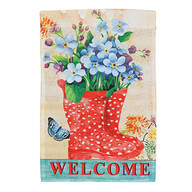 Welcome Rain Boots Garden Flag