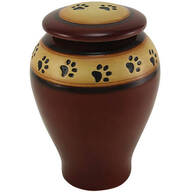 Personalized Red Ceramic Paw Print Pet Urn