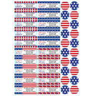 Personalized Stars and Stripes Labels and Seals, Set of 60