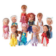 "4"" Little Princess Dolls, Set of 10"