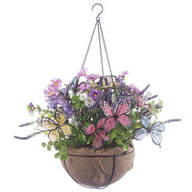Fully Assembled Butterflies & Floral Hanging Basket