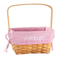 Personalized Pink Gingham Wicker Easter Basket