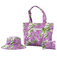 Purple Hibiscus Tote Coin Purse and Hat Set