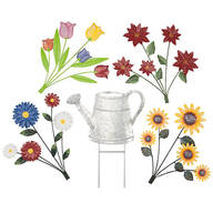 Watering Can Stake with 4 Bouquets by Fox River Creations™