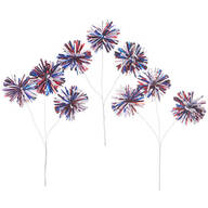 Red, White & Blue Pom Pom Sprays, Set of 3