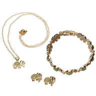 Good Luck Elephant Necklace, Earrings and Bracelet Set