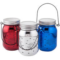 Red, White & Blue Fairy Light Firework Jars, Set of 3