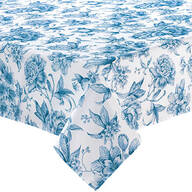 William Roberts Blue Floral Toile Tablecloth