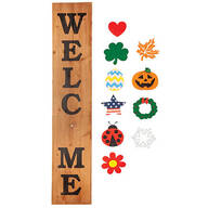 Folding Wood Welcome Sign with Magnetic Holiday Shapes