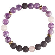 Amethyst Rose Quartz and Lava Beads Stretch Bracelet