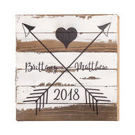 Personalized Heart and Arrows Reclaimed Wood Sign by Sweet B
