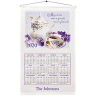 Personalized Teapot and Violets Calendar Towel