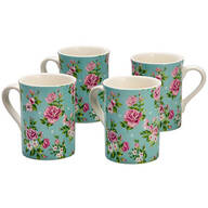 Rose Chintz Porcelain Mugs, Set of 4