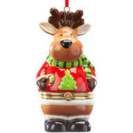 Reindeer in Sweater Ornament Trinket Box