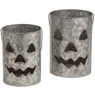 Galvanized Metal Jack-O-Lanterns, Set of 2