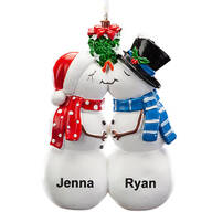 Personalized Kissing Snow Couple Ornament