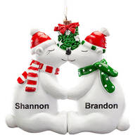 Personalized Kissing Polar Bear Couple Ornament