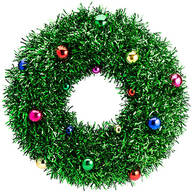 Green Tinsel Wreath with Ornaments