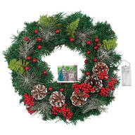 Lighted Holiday Wreath with House