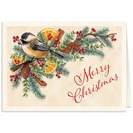 Personalized Chickadee Potpourri Christmas Card Set of 20