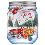 Personalized Merry Mason Jar Christmas Card Set of 20