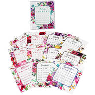 Floral Watercolor 12 Month Desktop Calendar