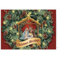 Personalized Nativity Wreath Christmas Card Set of 20