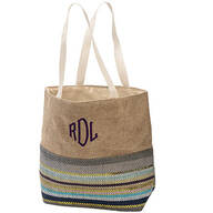 Personalized Metallic Stripe Print Canvas Tote