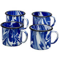 Blue Marble Enamelware Set of 4 Mugs by Home Marketplace