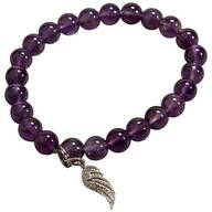 Amethyst and Angel Wing Stretch Bracelet