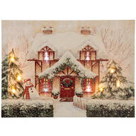 Cozy Cottage Lighted Canvas by Holiday Peak™