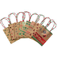 Kraft with Foil Glitter Small Gift Bags, Set of 8
