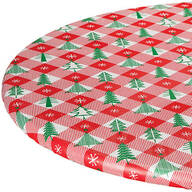 Vintage Holiday Tree Elasticized Vinyl Tablecover