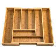 Bamboo Expandable Cutlery Drawer Organizer by HMP