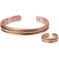 Copper Tritone Magnetic Cuff and Ring Set