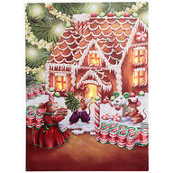 Gingerbread Mouse Lighted Canvas by Holiday Peak™