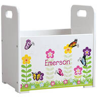 Personalized Flowers & Butterflies Book Caddy