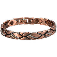 Magnetic Copper Diamond Leaf Bracelet