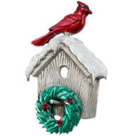 Cardinal on Birdhouse Pewter Pin