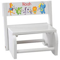 Personalized Children's White Musical Animals Step Stool
