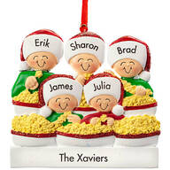 Personalized Stringing Popcorn Family Ornament