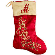 Personalized Red and Gold Glittered Stocking by Holiday Peak