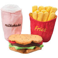 Stuffing Free Hamburger, Fries and Shake Dog Toys