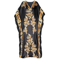 Black and Gold Print Shiny Caftan by Sawyer Creek