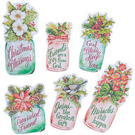 Christmas Mason Jar Magnet Set of 6