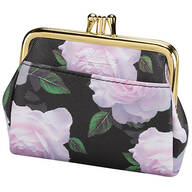 Buxton® RFID Black & Pink Rose Triple Frame Coin Purse