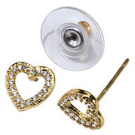 CZ Open Heart Post Earrings