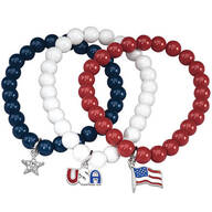 Patriotic Stretch Bracelets Set of 3