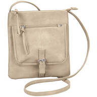 Wash Textured PU Crossbody Purse with Buckle